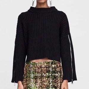 Zara Black Sweater with Zippers
